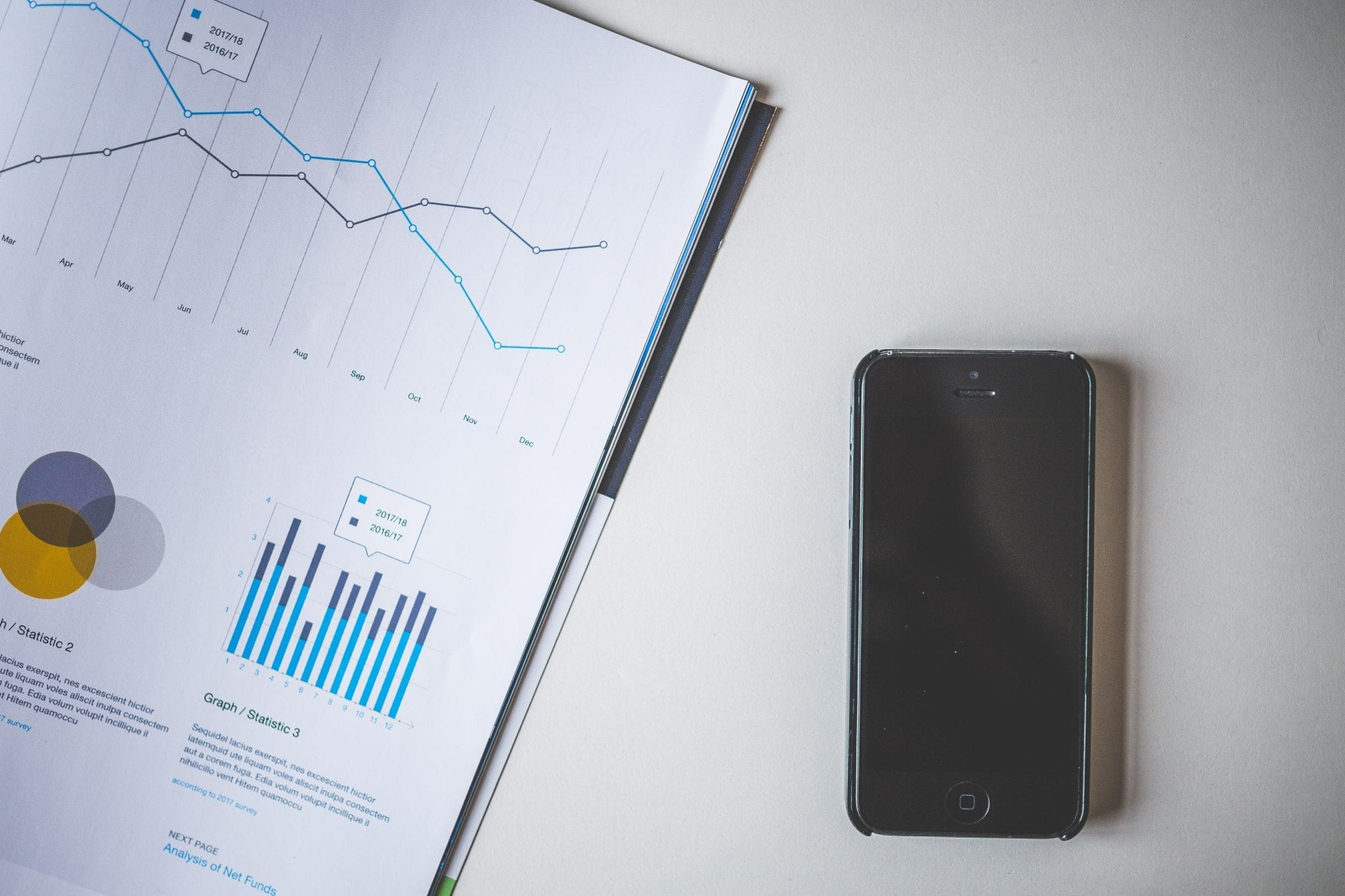 Analytics chart next to a black iPhone screen